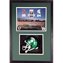 Michigan State Football Rose Bowl Shadow Box Framed Mini Helmet and Picture