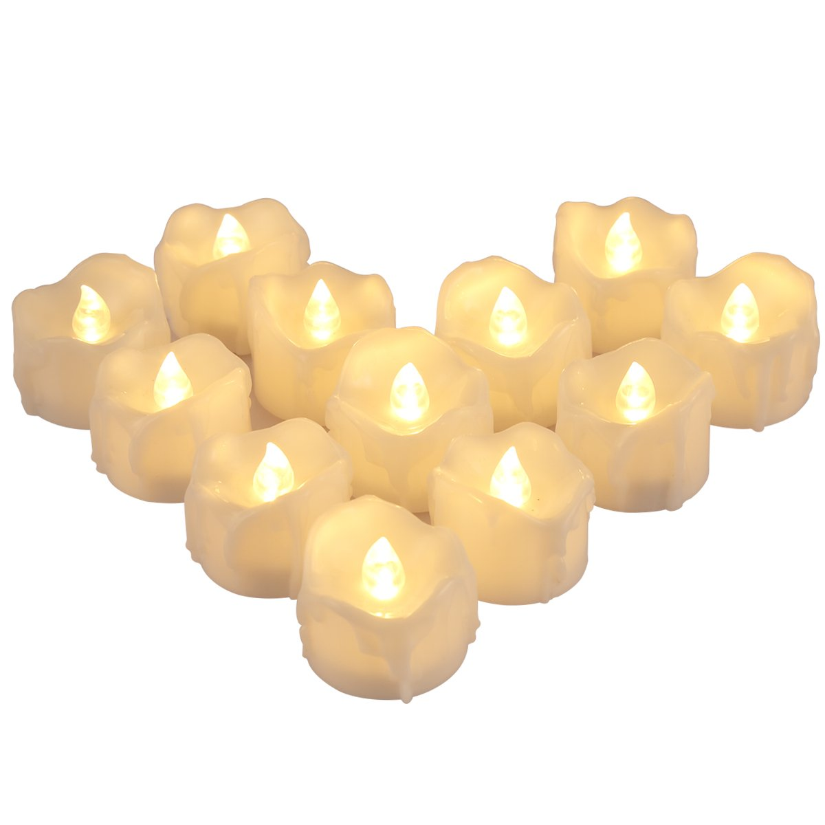 AMIR Flameless Candles, 12 PCS LED Tea Lights with Timer, Flickering Votive Candles for Christmas Thanksgiving Halloween Party Wedding Festival Celebration & Decoration, Battery Included (Warm White)