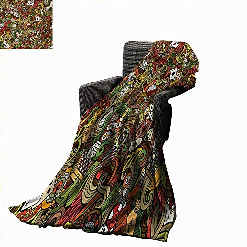 Anyangeight Casino Throw Blanket Doodles Style Artwork of Bingo and Cards Excitement Checkers King Tambourine Vegas,Super Soft and Comfortable,Suitable for Sofas,Chairs,beds