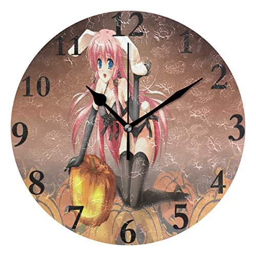 Ladninag Wall Clock Stylish Anime Halloween Wallpaper Silent Non Ticking Decorative Round Digital Clocks for Home/Office/School Clock ()