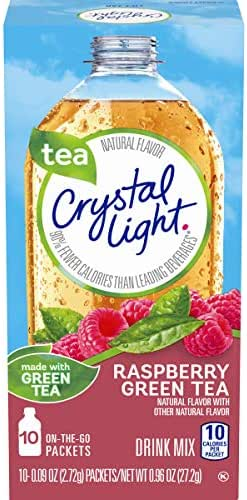 Crystal Light Raspberry Green Tea Drink Mix (120 On the Go Packets, 12 Canisters of 10)
