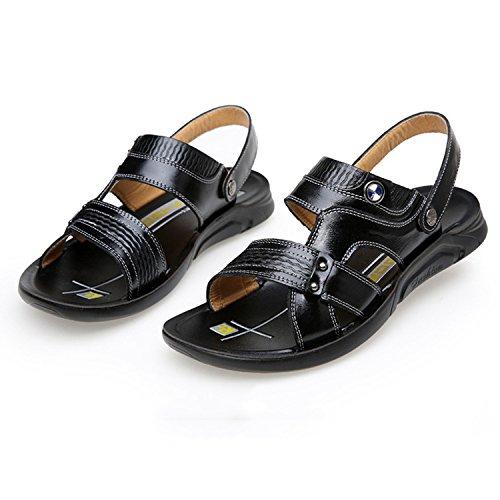 HGDR Black Sandali Da Sandali Traspiranti Da Uomo Sandali Spiaggia E Pelle Traspiranti Spiaggia Aperti Da In rrpdvqZ
