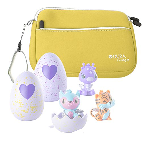 Price comparison product image DURAGADGET Yellow Neoprene Case Cover with Front Storage Pocket for Storing Your Hatchimals Colleggtibles Toys