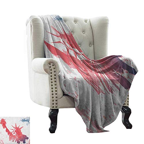 Anyangeight 4th of July, Blankets and Throws, Watercolor Lady Liberty Silhouette with Paint Splashes Independence, Couch Bed Blankets Mini Size, (W60 x L62 Inch Dark Coral Pale Blue -