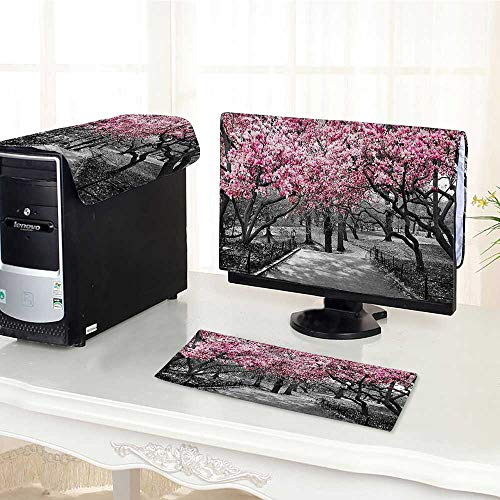 Auraisehome dust Cover for Computer 3 Pieces Collection Blossoms in Central Park Cherry Bloom Trees Forest Spring Springtime Landscape Suit Computer dust Cover /27