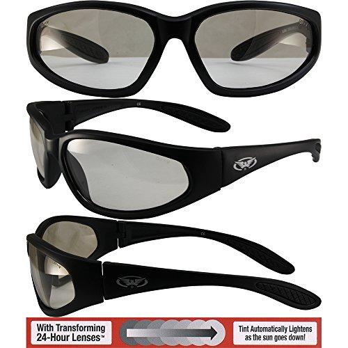 Gloss Black Nylon Frame (Global Vision Hercules Safety Sunglasses Black Frames with 24 Hour Photochromic Clear to Smoke Lenses ANSI Z87.1+)