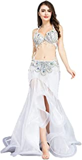 Costume de Danse du Ventre pour Les Femmes Soutien-Gorge Jupe en Queue de Poisson Tenue de Danse du Ventre avec Pompon Robe de Compétition pour Le Ventre Wangmei