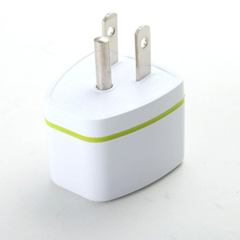 SUKEQ Travel Adapter, Universal EU AU UK Germany To USA US Canad 3 Pin American Outlet Plug Converter Adapter for iPhone, Android (White)