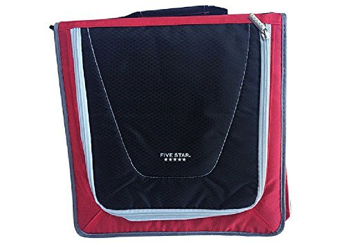Zipper Binder 530 Sheet Capacity, 2 inch, Five Star , 12 3/4 Inch * 12 Inch, Including 3 Color Code Dividers, Durable Handle $ Strap, Removable Pencil Pouch (Red,Black)