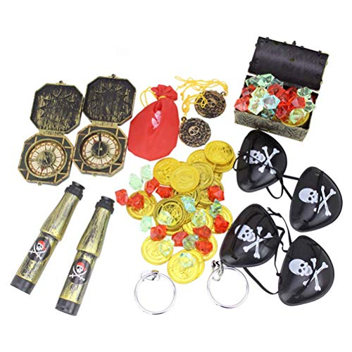 Toyvian 60 Pieces Pirate Treasure Toy Set for Pirate Party Supplies, Included Gold Coins, Eye Patches,Pirate Telescope and Compass, etc
