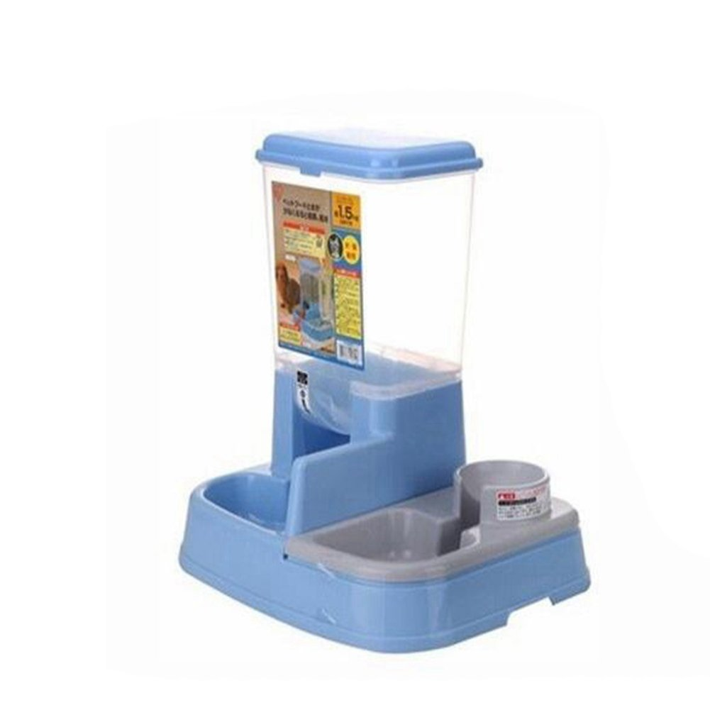 WW Pet Feeder Waterer Automatic 2 In 1 Food Water Bowl For Cats And Dogs,Blue by CW&T (Image #2)