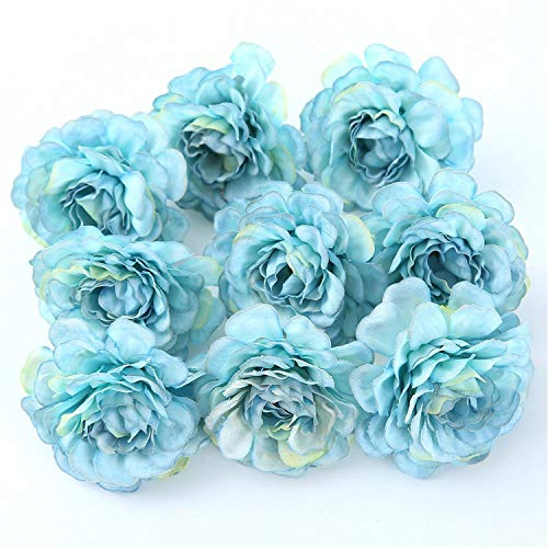 10Pcs/Lot Artificial Flower 5CM Silk Spring Rose Head for Wedding Party Home Decoration DIY Wreath Gift Box Scrapbook Craft Blue