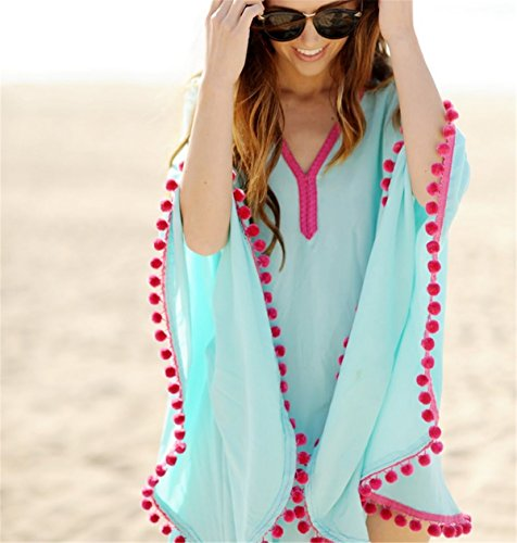 e455f7d79b48 ... Fanessy Lose Chiffon Damen Sommerkleider Strandkleid Große Größen Boho  Spitze Sexy Beachwear Bikini Cover Up Poncho ...