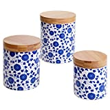 Certified International 3 Piece Chelsea Indigo Poppy Canister Set with Bamboo Lids, Multicolor