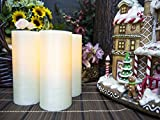 Lyra Candle. Unscented Ivory Wax Flameless Candles with Remote and Auto Timer Feature, 6-inch Candle Set of 3