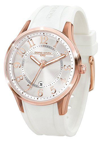 Jorg Gray JG1200-12 White Rose Gold Rubber Patterned 3 Hand Womens Watch by Jorg Gray