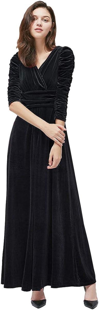 MedeShe Women's Christmas Long Sleeve V Neck Velvet Maxi Dress