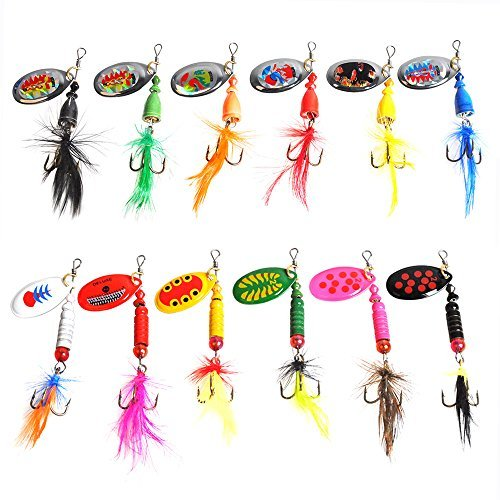 Dr.Fish 12 Pack Rooster Tail Spinners Lures Bass Trout Salmon Walleye Fishing Lures Lot Treble Hook Multiple Color