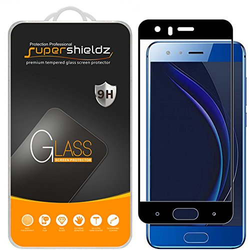 [2-Pack] Supershieldz for Huawei Honor 9 Tempered Glass Screen Protector, [Full Screen Coverage] Anti-Scratch, Bubble Free (Black)