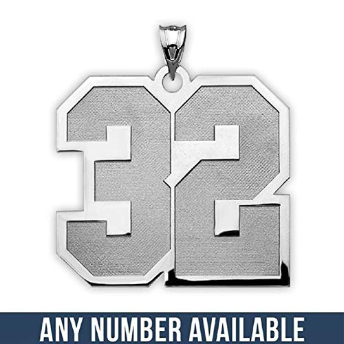 (PicturesOnGold.com Sterling Silver- 3/4 Inch X 3/4 Inch- Sports Number Charm or Pendant with 2 Digits - 3/4 Inch X 3/4 Inch - Sterling Silver, Number 81 with Engraving)