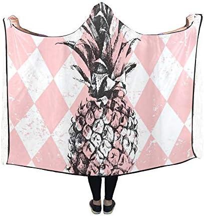Rtosd Couverture à Capuche Ananas dessiné à la Main sur Une Couverture Losange 60x50 Pouces Wrap à Capuche Comfotable
