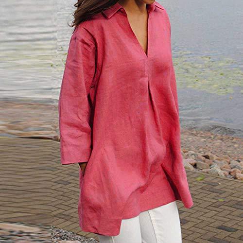 Haute Tee Casual Chic Haut A Shirt T Couleur Lin Chemisier Taille Shirt Blouse Tops A L~5XL Tunique Coton dcontracte Manches Sweatshirt Femme Longues Chemise Unie Sweat Kangrunmys Grande xH6qORx