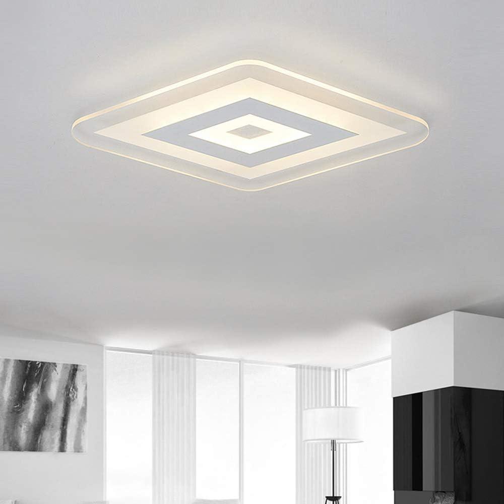 27, White Light LAKIQ Ultrathin Ceiling Light Acrylic LED Flush Mount Chandelier Lighting Fixture Square Modernsim Concise for Bedroom Living Room