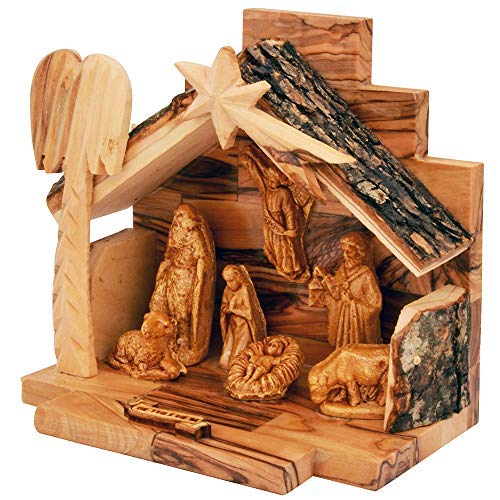 The Jerusalem Gift Shop Olive Wood Nativity Set with Figurines Bark Roof Stable   Made in Bethlehem with (Nativity Wooden)