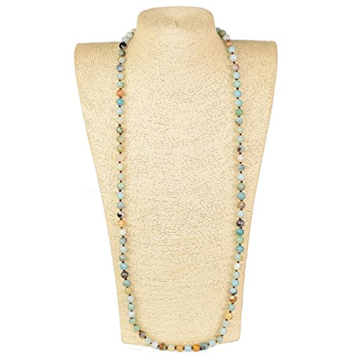 - LovelyBead Long Double Knotted Necklace- 36 inches Long- Ready to wear- Long Necklace. (36inch,8mm, Amazon)
