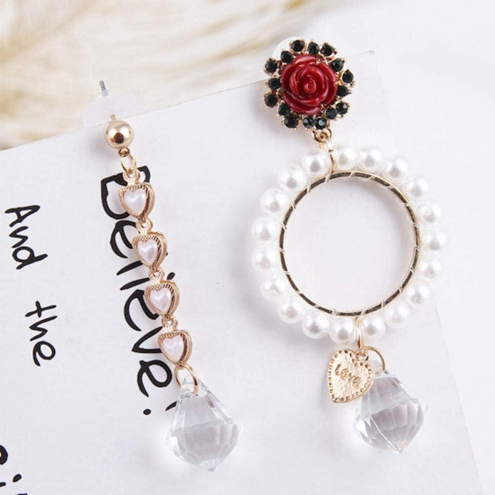 ZHQJY Moda Perla círculo Redondo Amor corazón Rosa Flor Pendientes de Gota para Mujeres asimetría Cristal Pendiente Pendiente joyería