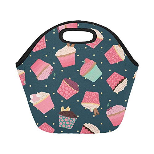 Insulated Neoprene Lunch Bag Cup Cake Dessert Snack Color Large Size Reusable Thermal Thick Lunch Tote Bags For Lunch Boxes For Outdoors,work, Office, School