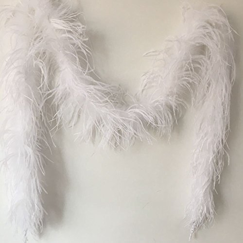 MELADY 72inch Fashion Dress Sewing Crafts Costumes Decoration Dyed Ostrich Feathers Boa Scarf (White)