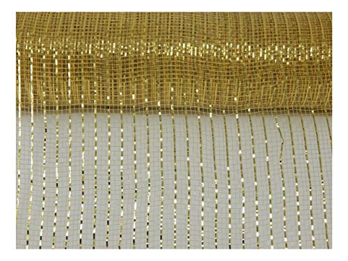 Floral Supply Online - 10 inch x 30 feet Metallic Deco Poly Mesh Ribbon (Gold, 10