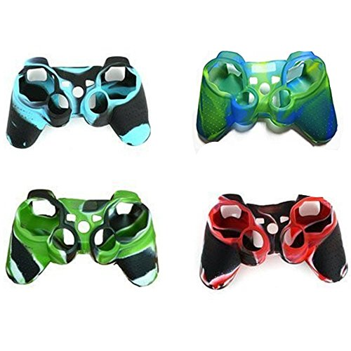 Hipipooo 4 Pack of High Quality Premium Super Grip Silicon Protective Skin Case Cover for Sony Playstation 3 PS3 Remote Controller