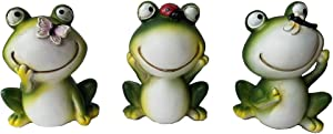 UXMOO Garden Frog S/3 Ornaments Polyresin Garden Decor Statues for Yard and Patio Lawn Cute Frog Indoor Outdoor Decoration Frog Figurines Animal Statue Sculpture-91