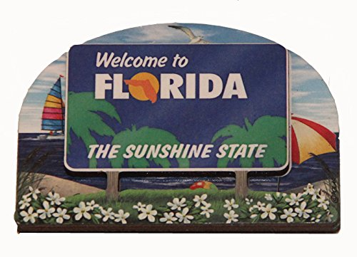 (Florida State Welcome Sign Wood Fridge Magnet 2)