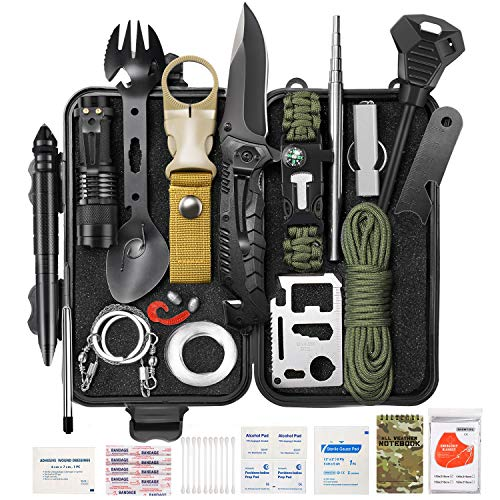 GTOMIPO Survival Gear Kit 59 in 1, SOS Earthquake Aid Equipment Emergency Gear Fishing Hunting Birthday Gifts Ideas for Men Women Families Gifts for Men Dad Husband Fathers Day