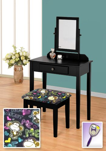 New Black Wooden Make Up Vanity Table with Mirror & Bobby Jack Monkey Print (New Girls Bobby Jack)