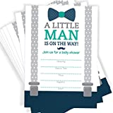 Little Man Themed Baby Shower Invitations | Bow Tie, Mustache, and Suspenders! | 25 Invitations with Envelopes