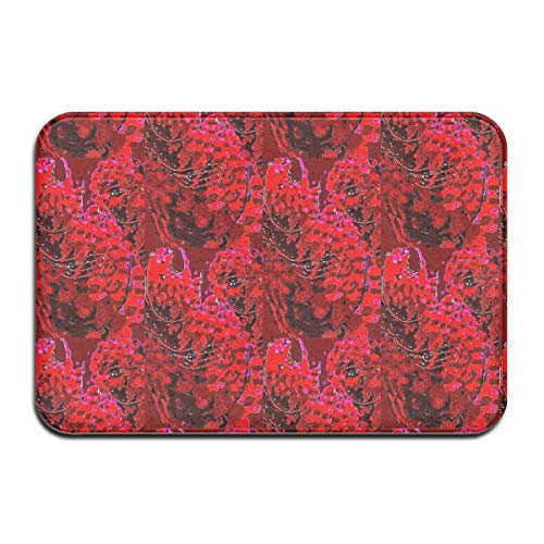 Luase Red Splash Marble Batik Doormat Floor Mat with Non-Slip Backing Bath Mat Rug Funny Home Decor Rug Carpets 23.6 x 15.7 Inches