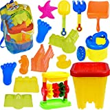 Kids Beach Sand Toys Set With Mesh Bag, Sandbox, Castle Bucket, Sand Wheel, Watering Can, Shovel, Rake, Footprint Molds, Sea Creatures Molds, Castle Molds, Sand Tool Play Set - 16 PCs