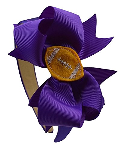 Girls Football and Bow Arch Headband (Purple Band / Purple Bow / Gold Ball)