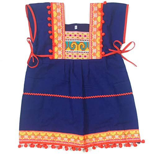 Unique Hmong Woven Cotton Ethnic Thai Girl Dress Hand Made Embroidered Costume Traditional Pompoms 2 to 3-Year-Old ()