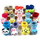 Cartoon Face Booties for Just Born Baby Girl and Boy, 0-6Months, 1 Pair
