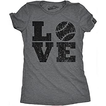 Womens LOVE Baseball Funny Sporting Lover Home Run Cute Relationship T shirt (Grey) S