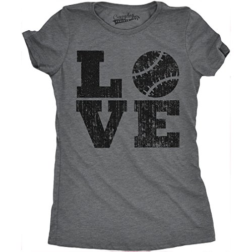 Womens Love Baseball Funny Sporting Lover Home Run Cute Relationship T Shirt (Dark Heather Grey) - (New Dog History T-shirt)