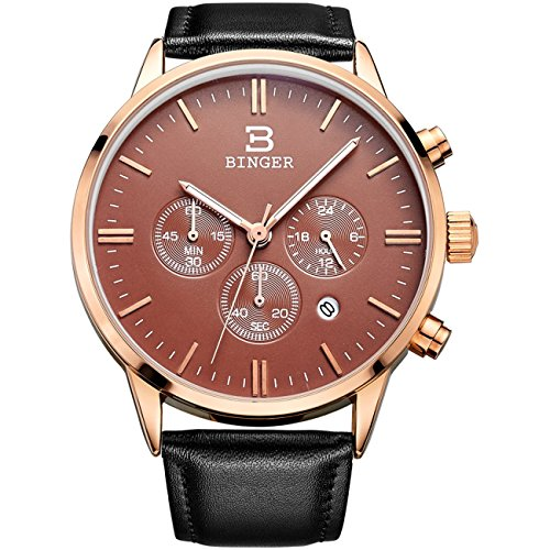 BINGER Date Rose Gold Unisex Chronograph Watches For Men Online Stopwatch 24 Hour Black Leather Strap