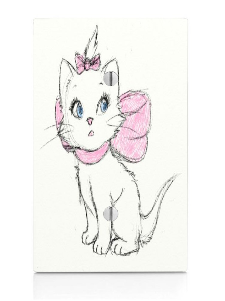 Aristocat Drawn Cute Disney Sketch Printed Design Single Blank Electrical Switch Plate Smarter Designs