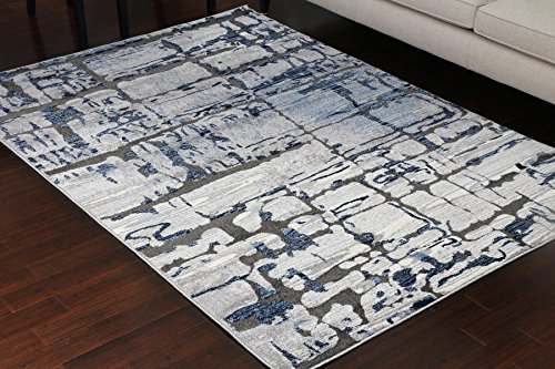 Miami Textured 3-D Carved Double Point High Density Thick Collection Oriental Carpet Area Rug Rugs Silver Grey Blue 5068 Anthracite 5x7 6x8 5'2x7'4