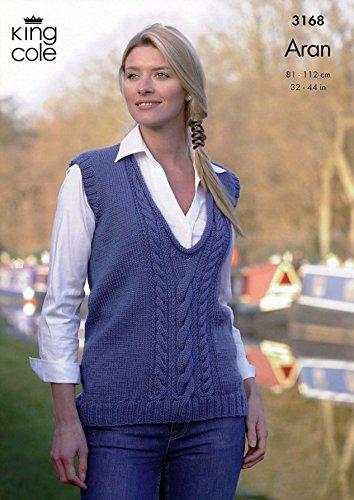 King Cole Ladies Sweater Slipover Merino Aran Knitting Pattern